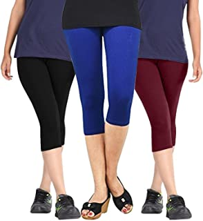 ROOLIUMS ® (Brand Factory Outlet Womens Cotton Capri Combo Pack of 3, 4 Way, 190 GSM - Free Size (Black, Blue and Maroon)