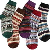 5 Pack YZKKE Womens Vintage Winter Soft Crew Socks