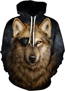 Mens 3D Hoodies Unisex Galaxy Wolf Art Paint Casual Pullover Hooded Sportswear with Pocket