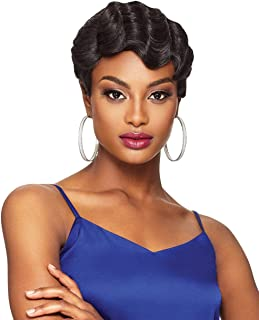 Short Finger Wave Full Wig, 100% Remy Brazilian Human Hair Wig, Cute Short Pixie Haircuts Wigs, 1920s Vintage Hairstyle // REVIVE (Natural Black)
