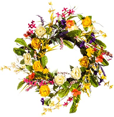 Amazon Com Cypress Home Spring Floral Wreath 24 X 6 X 24 Inches Home Kitchen