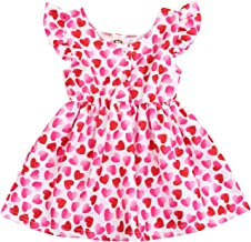 Bovkae Girls Dresses Toddler Infants Baby Girls Dads Little Valentine Letter Printing Dresse Long Sleeve Heart Print Red Swing Dress Clothes Casual Party Princess Dress for 1-5 Years Old Kids