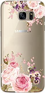 S7 Edge Case, Galaxy S7 Edge Case, JAHOLAN Girl Floral Clear TPU Soft Bumper Slim Flexible Silicone Cover Phone Case for Samsung Galaxy S7 Edge - Rose Flower