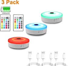 Multi-Color LED Puck Lights with Remote Control, WOBANE Rechargeable Under Cabinet Lighting, Color Changing Closet Light, USB Powered Stick On Light for Display Case, Shelf,Counter,Home Bar 3 Pack