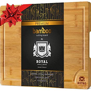 "Bamboo Cutting Board w/Juice Groove & Handles - Butcher Block for Chopping Meat & Vegetables - Kitchen Cutting Boards, (10 x 15"")"