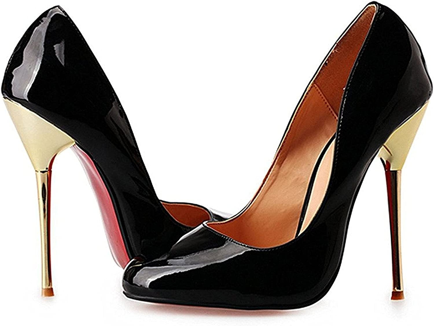 Reinhar Womens Pure color Slip On Pointed Toe Thin Style High Heels shoes