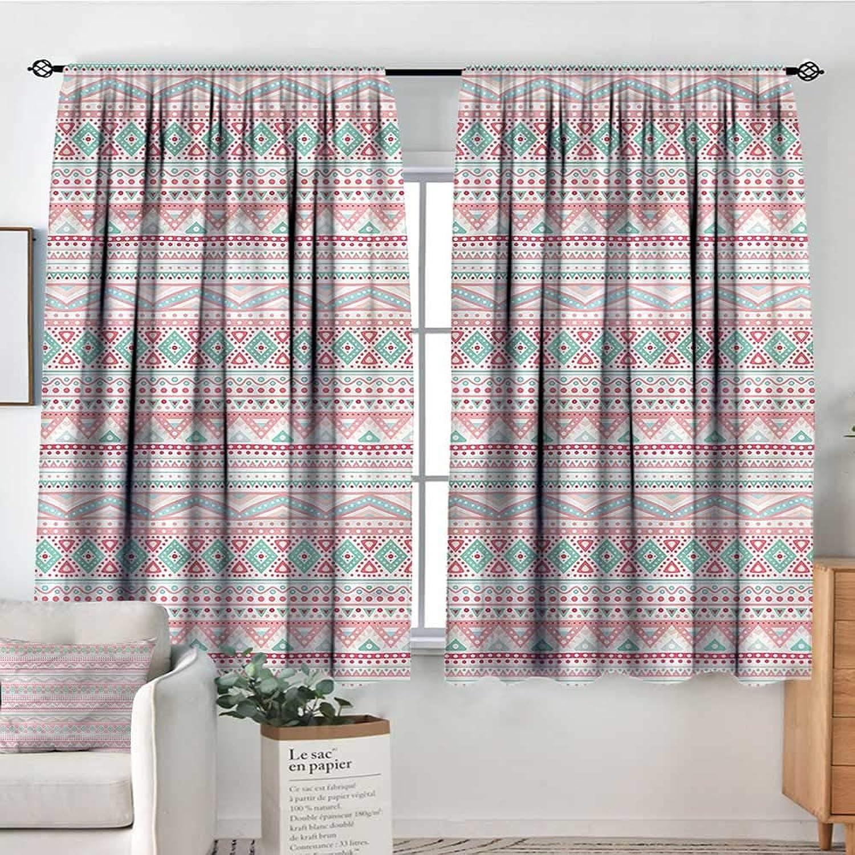 RenteriaDecor bluesh,Patio Door Curtains Ight Bocking Tribal Aztec Symbols Ethnic 42 X72  Soft Therma Insuated Curtain Panes