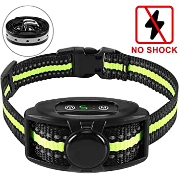 Flittor Bark Collar, NO Shock Anti Barking Dog Collars with Rechargeable Adjustable Sensitivity and Intensity Beep Vibration - No Harm Shock for Small Medium Large Dogs