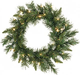 Vickerman Pre-Lit Imperial Pine Wreath with 35 Clear Dura-Lit Lights, 18-Inch, Green