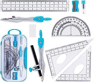 مجموعه کیت هندسه ریاضی 10 قطعه با جعبه ذخیره سازی مقاوم در برابر خرد ، لوازم دانشجویی شامل خط کش ، زاویه سنج ، قطب نما ، پاک کن ، تیز کننده مداد ، پر کننده سربی ، مداد برای پیش نویس