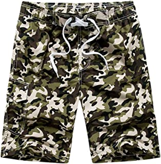 Allywit Mens Casual Fashion Pure Color Beach Pocket Surfing Swimming Loose Short Pants Big and Tall
