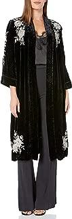 Women's Floral Embroidered Velvet Kimono Coat