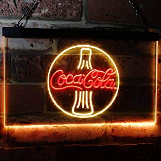 ZAKAKU Coca Cola Coke Bottle Bar Two Color LED Neon Sign Red and Yellow w16 x h12