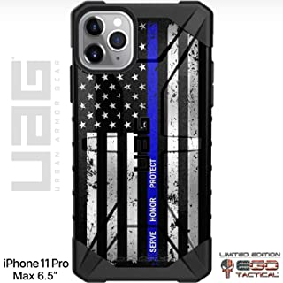 Limited Edition Customized Prints by Ego Tactical Over a UAG Urban Armor Gear Case for Apple iPhone 11 Pro Max - Serve Honor Protect - Thin Blue Line US Flag
