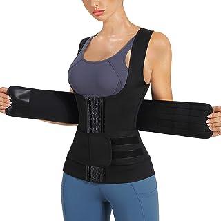 Nebility Women Sauna Sweat Vest Hot Neoprene Sauna Suit Weight Loss Workout Top Waist Trainer Shirt Body Shaper