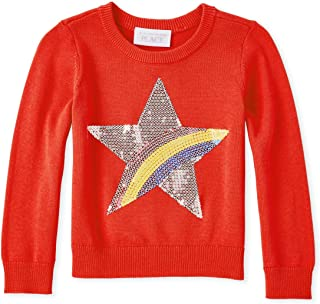 The Children's Place Baby Girls Graphic Long Sequin Sleeve Sweater