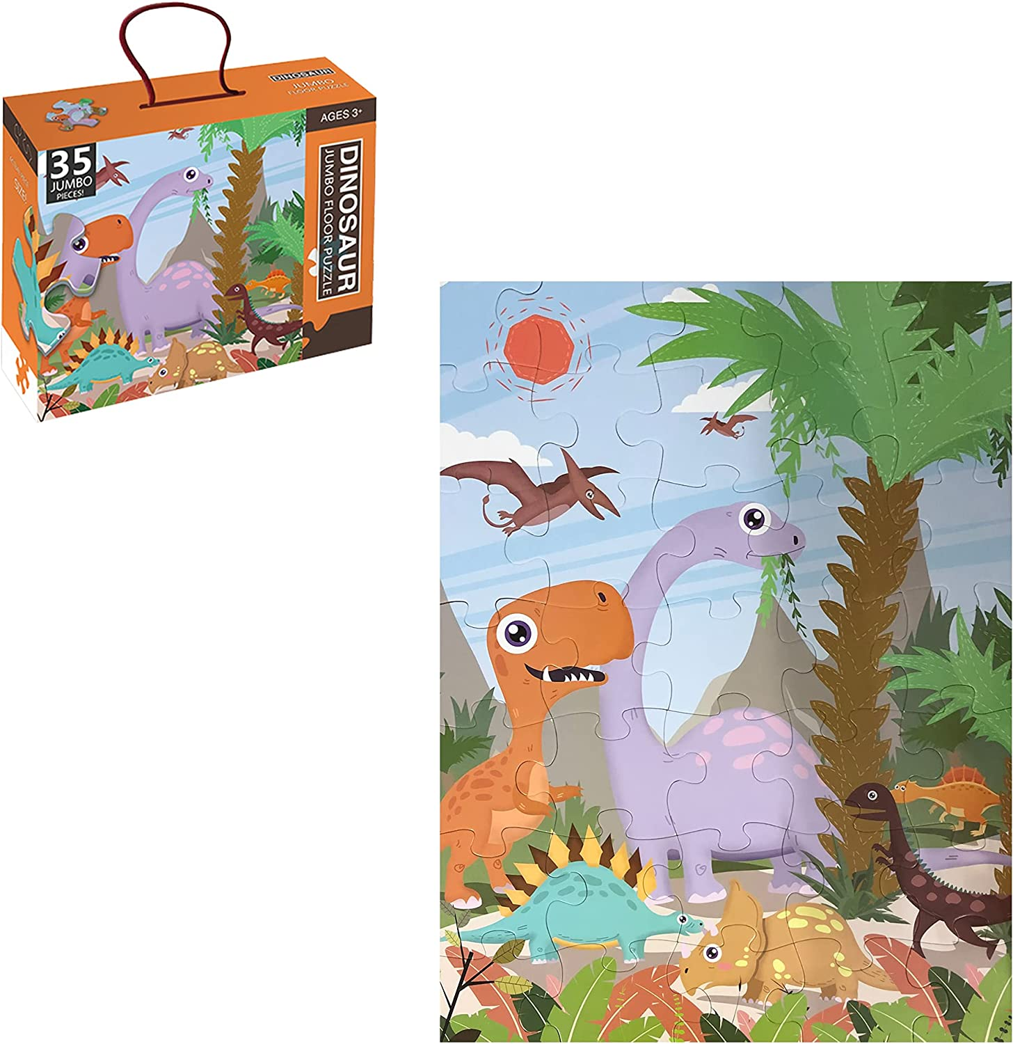Dinosaur Floor Puzzle Mail order cheap for Preschool 35 Easy-to-use Jumb Kids Piece