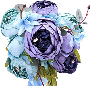 StarLifey Fake Spring Flowers Vintage Artificial Peonies Bouquet Home Wedding Decoration Flowers Bunch Confession Bouquet (New Grey Blue)