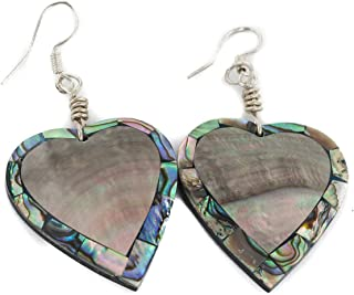 $80Tag Inlay Heart Certified Silver Navajo Hooks Abalone Dangle Earrings 18099-6 Made By Loma Siiva