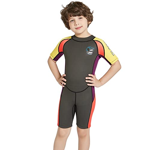 c96bd6391b4e Dark Lightning Kids Wetsuit, 2mm Neoprene Thermal Swimsuit, Youth Boy's and  Girl's One Piece
