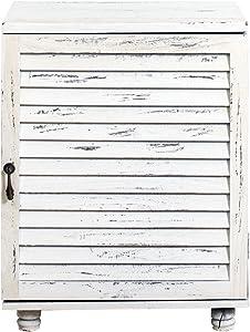 Rebecca Mobili Comodino da Camera, armadietto Bagno con 1 Anta, Legno Paulownia, Bianco, Shabby Vintage - Misure: 51,5 x 40 x 29 cm (HxLxP) - Art. RE4063