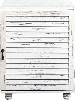 armadietto 1 Anta 1 cassetto arredo casa HxLxP RE4087 Rebecca Mobili Mobile Bagno Montato Legno e Vimini Bianco Grigio Stile Vintage - Art Misure: 74 x 32 x 26 cm