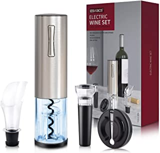 EZBASICS Electric Wine Bottle Opener kit Rechargeable Automatic Corkscrew contains Foil Cutter Vacuum Stopper and Wine Aer...