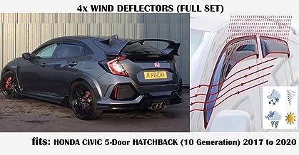 OEMM Juego de 4 deflectores de viento compatibles con HONDA CIVIC 5 puertas Hatchback 10th Generation 2017 2018 2019 2020 vidrio acrílico viseras laterales deflectores de ventana
