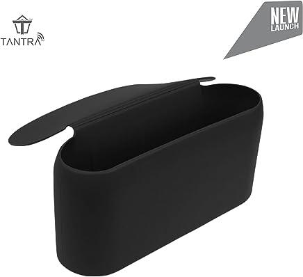 Tantra Smart Universal Portable Silicone Car Mini Dustbin Trash Storage Can For Side Door Pockets (Black/Orange) (Black)