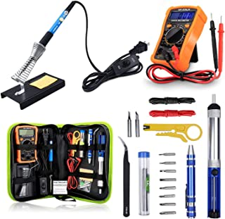SUYAYA Soldering Iron Kit 60W Adjustable Temperature Welding Tool, Digital Multimeter, 2pcs Soldering Iron Tips, Desolderi...