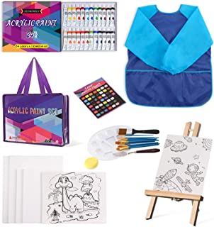 Painting Set for Kids, 45 Piece Painting Kit Supplies for Drawing with Table Easel, 24 Acrylics, 10 Paint Brushes, 6 Pcs C...