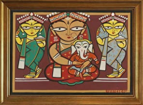 Berkin Arts Classic Framed Jamini Roy Giclee Canvas Print Paintings Poster Reproduction(Parvati and Ganesh with Attendants) #JK