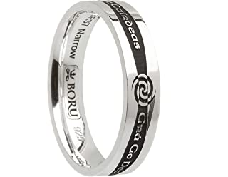 Boru Celtic Wedding Band Sterling Silver Promise Ring with Gaelic Phrases Made in Ireland