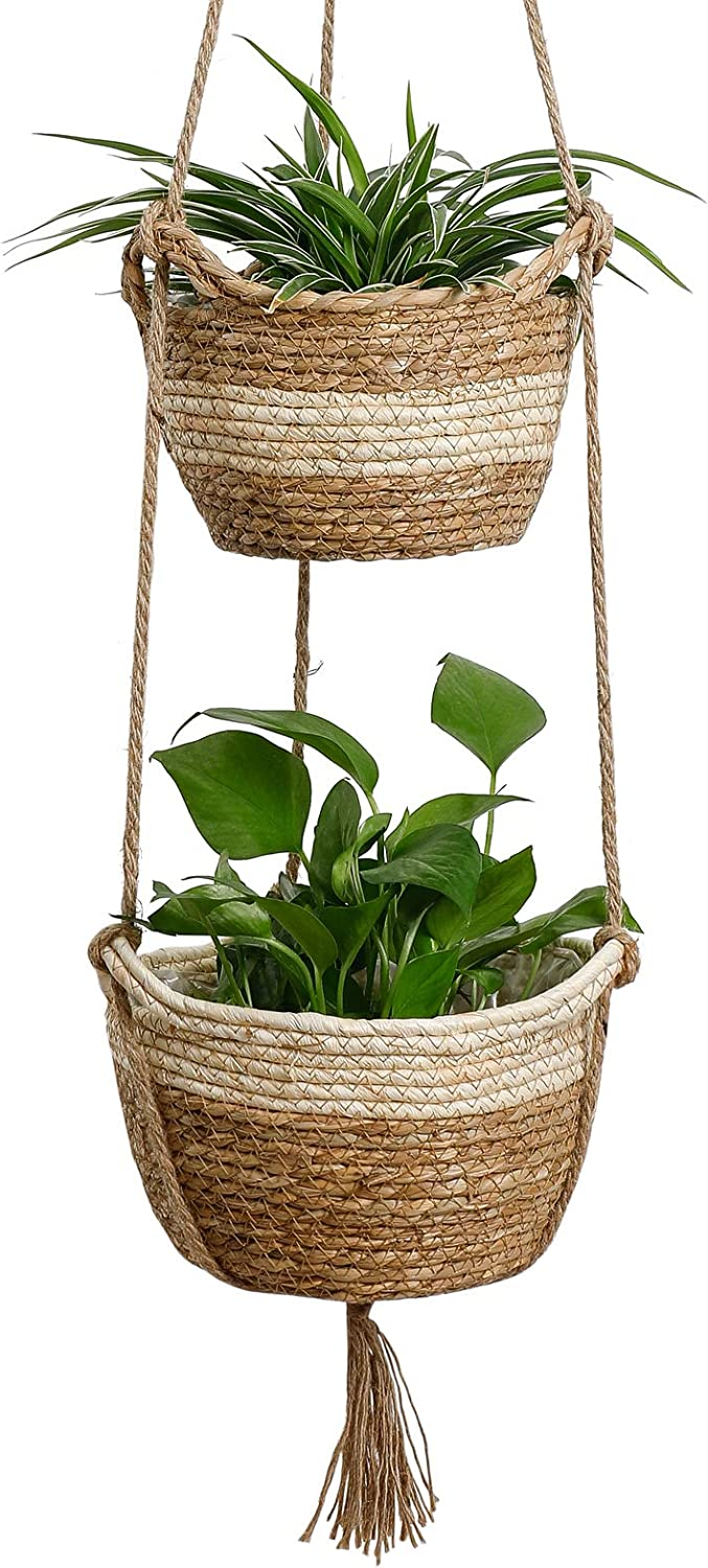 Seagrass Hanging Planters New product type Basket Sale Indoor Nat Layers Two -