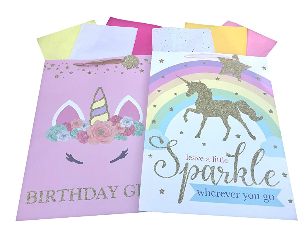 Celebration Gift Bags Unicorn Birthday Girl ; Leave a Little Sparkle Wherever You Go Set of 2 Size: Extra Large. Gold Glitter Embellished.