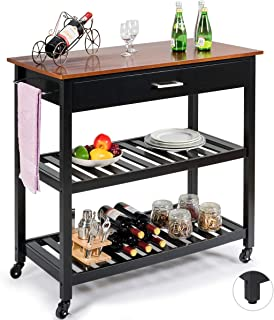 Giantex Kitchen Island Cart Multipurpose Rolling Trolley Large Wood Cart with Drawer, 2 Shelves, Lockable Castors, Towel Rack (Black)
