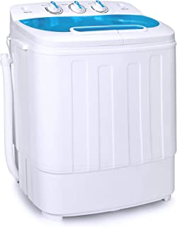 Best Choice Products Portable Compact Twin Tub Laundry Machine & Spin Cycle w/Hose, 13lbs Capacity - White/Light Blue