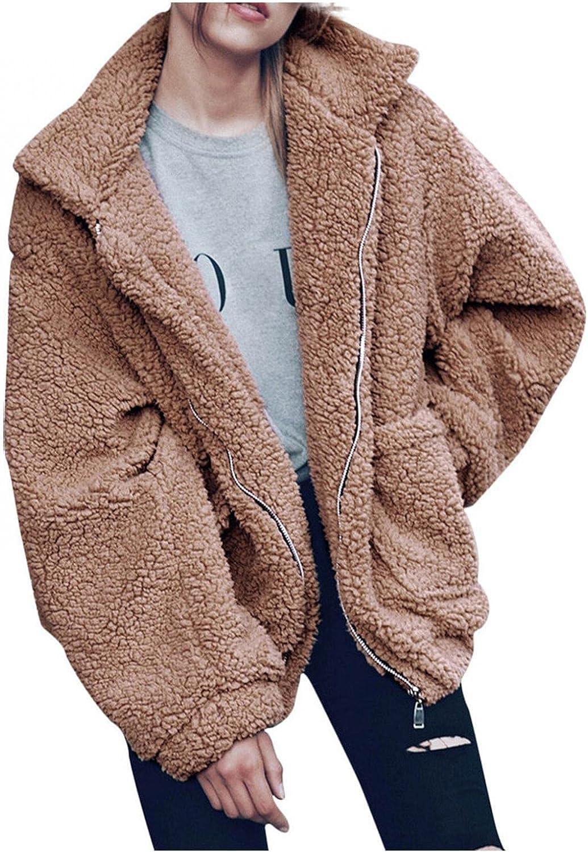 Women's Fuzzy Coat Fleece Warm Faux Fur Fluffy Zip Up Casual Long Sleeve Jacket Loose Solid Outerwear with Pocket