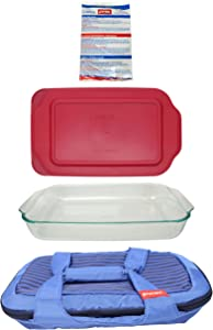 Pyrex (1) Royal Blue Carry Tote & (1) 233 Dish & (1) 233-PC Sangria Red Lid & (1) Large Cold/Hot Pack