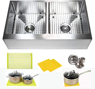 36 Inch Farmhouse Apron Front Stainless Steel Kitchen Sink Package 16 Gauge Flat Front Double Bowl Basin  Complete Sink Pack  Bonus Kitchen Accessories