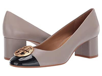 Tory Burch 50 mm Chelsea Cap-Toe Pump (Dust Storm/Perfect Navy) Women