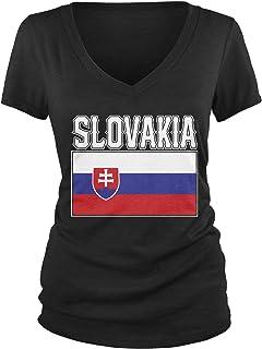 Amdesco Junior's Slovak Flag, Love Home, Flag of Slovakia V-Neck T-Shirt