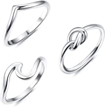 YADOCA 3 PCS Stainless Steel Rings for Women Engagement Love Knot Ring Set Chevron Silver Thumb Ring Beach Ocean Wave Ring Size 4-12