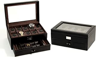 Leather 10 Watch Case With Glass Top, Drawer For Cufflinks And Pens, Black