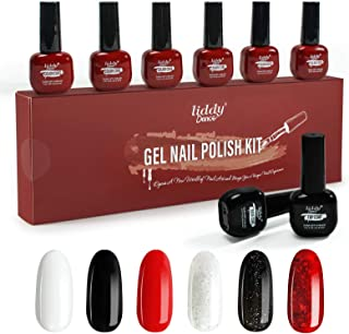Gel Nail Polish Set- 6 Colors 6.5 ML Classic Black Red White Glitter Gel Nail Polish Kit, Soak off LED Lamp Nail Gel Manic...