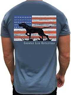 Country Life Outfitters Pointer Dog Americaan Flag Indigo Blue Mens Short Sleeve T-Shirt