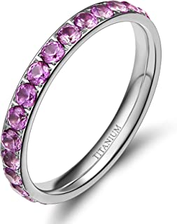 خاتم خطوبة من التيتانيوم 3 ملم للنساء من تيغرايد، مرصع بالزركونيا المكعب، مفهوم الخلود، حجم 3 الى 13.5