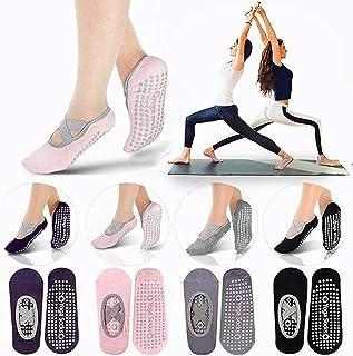 Yoga Socks for Women, Non Slip Grips & Straps Socks for Pilates, Pure Barre, Ballet, Dance, Barefoot Workout,Bikram, Fitness