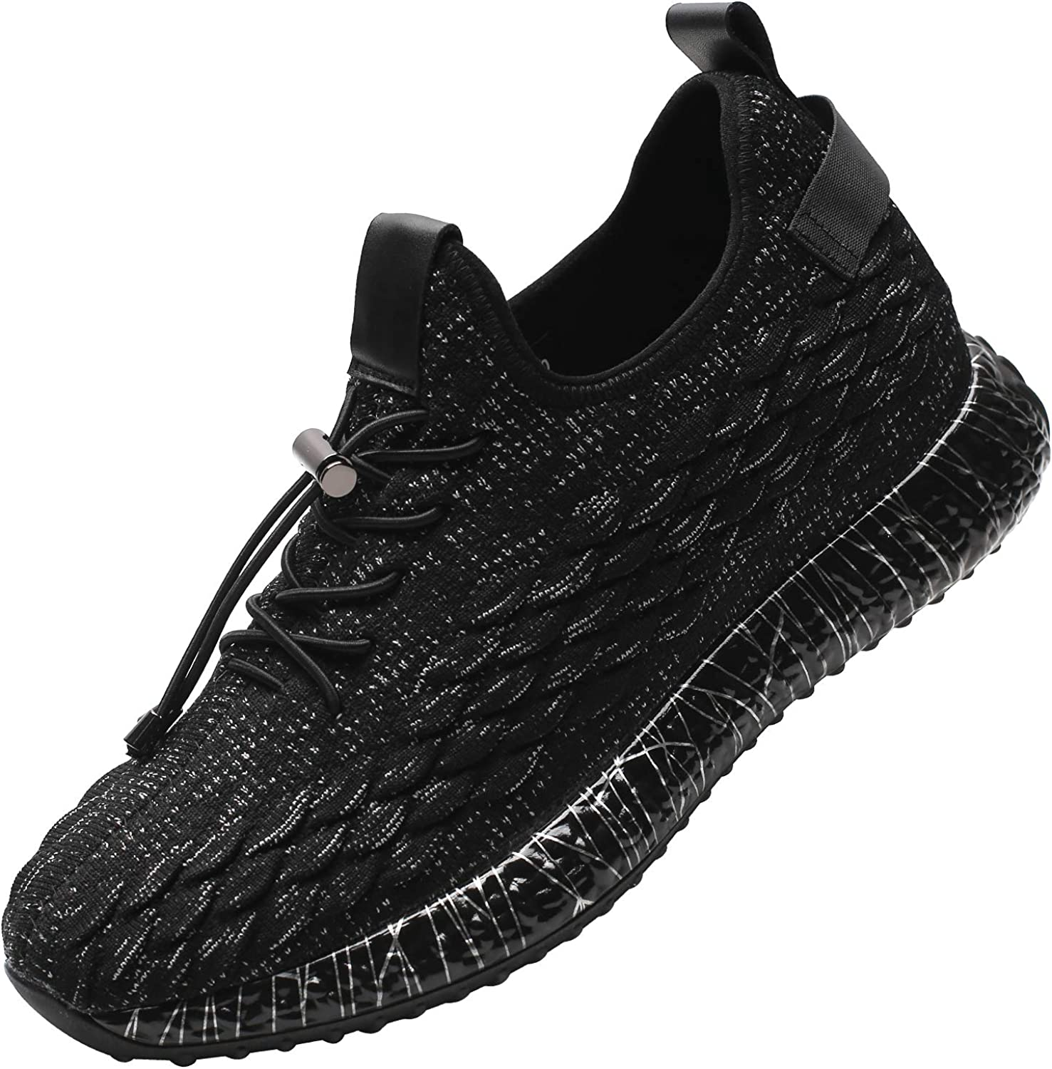 CHAMARIPA Men's Elevator Shoes Invisible Height Increasing Shoes Casual Sneakers Mesh Sport Lifting Shoes 2.36 Inches Taller Black H91C103D131D