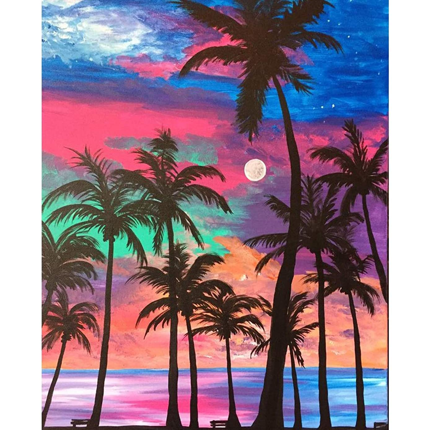 DIY 5D Diamond Painting by Number Kit,Crystal Rhinestone Diamond Embroidery Paintings Cross Stitch for Home Wall Decor Colored Sky Coconut Tree,11.8 x 15.7inch